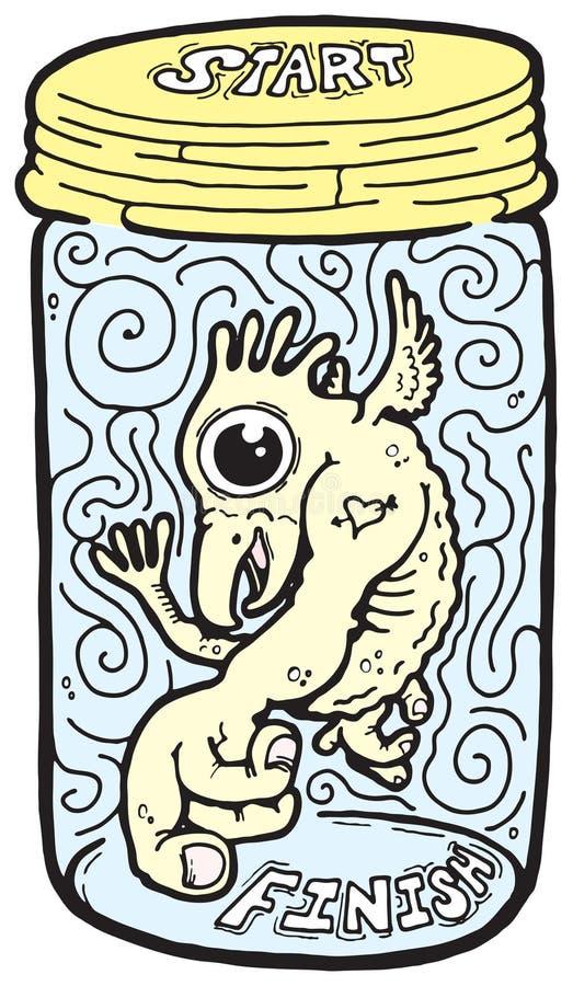 Criatura em um frasco imagem de stock