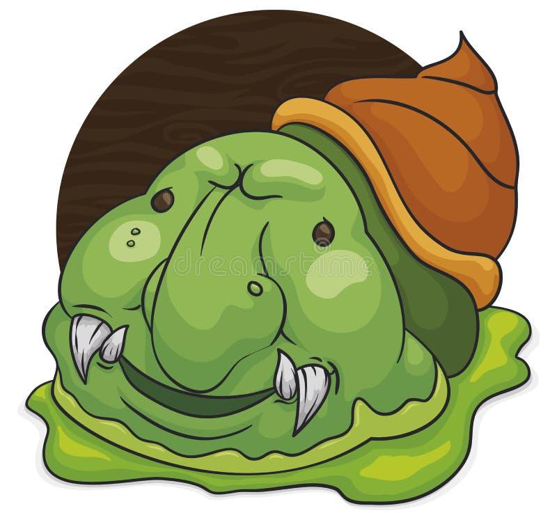 Criatura extraña del caracol con la sonrisa dañosa y el limo, ejemplo del vector ilustración del vector