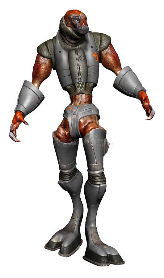 Criatura extranjera en la armadura de acero stock de ilustración