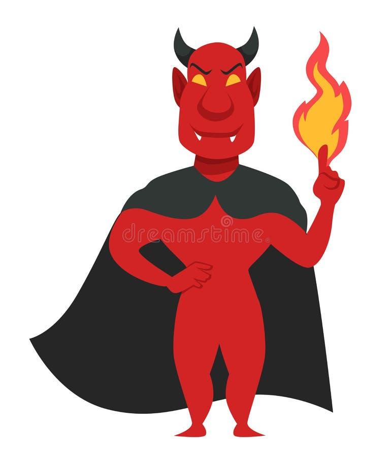 Criatura masculina malvada del diablo que sostiene las llamas a disposición libre illustration