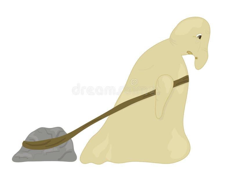 Criatura puxa pedra ilustração stock