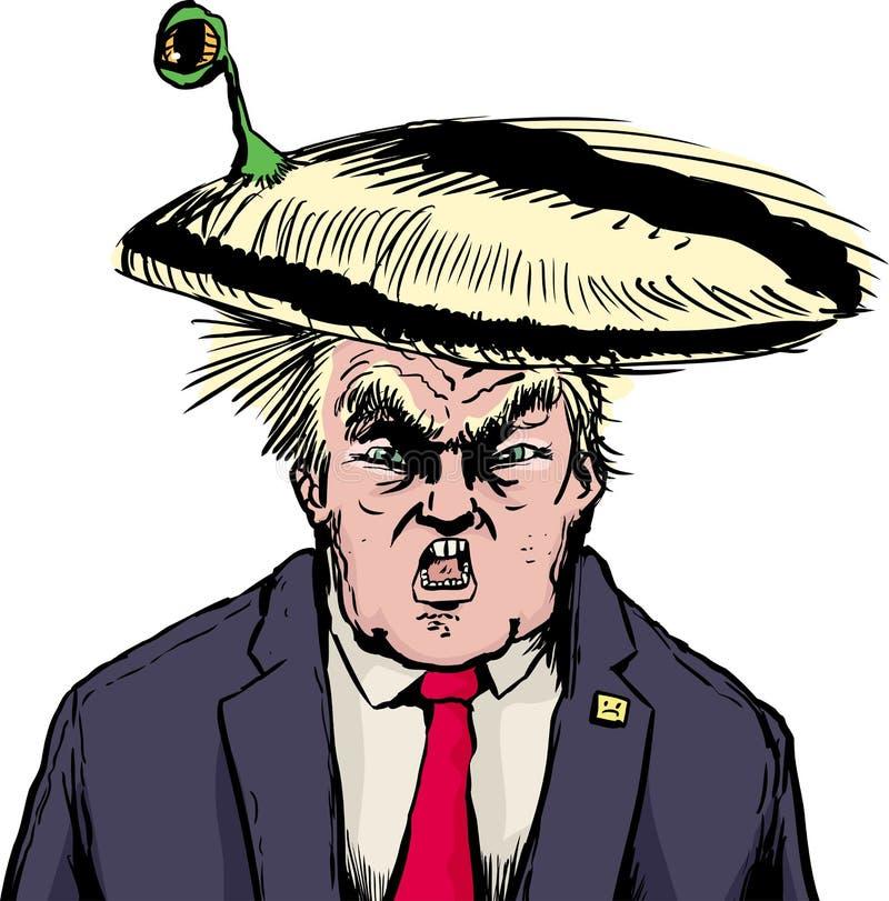 Criatura que oculta en el peinado de Donald Trump ilustración del vector