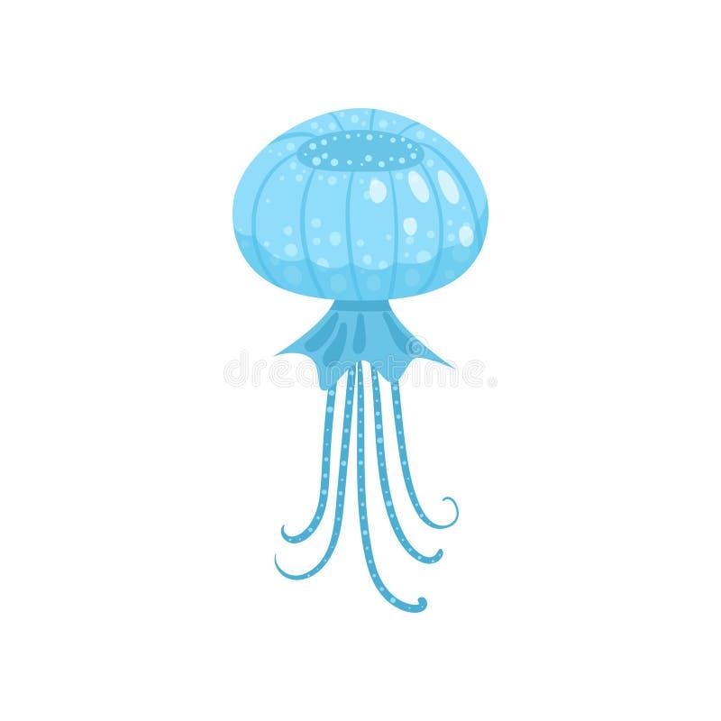 Criatura redonda azul das medusa, do oceano ou do mar do formul?rio ilustração royalty free