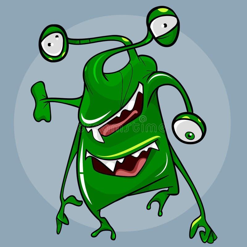 Criatura verde fantástica con tres ojos y dos bocas ilustración del vector