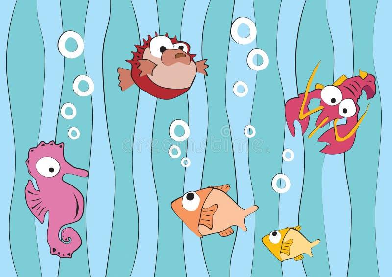Criaturas divertidas del mar, langosta, pescados, libélula libre illustration