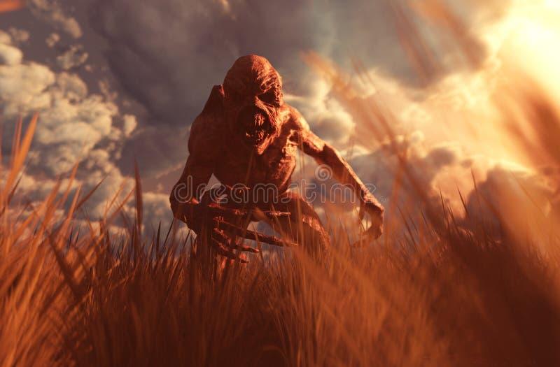 Criaturas do horror no campo de grama ilustração do vetor
