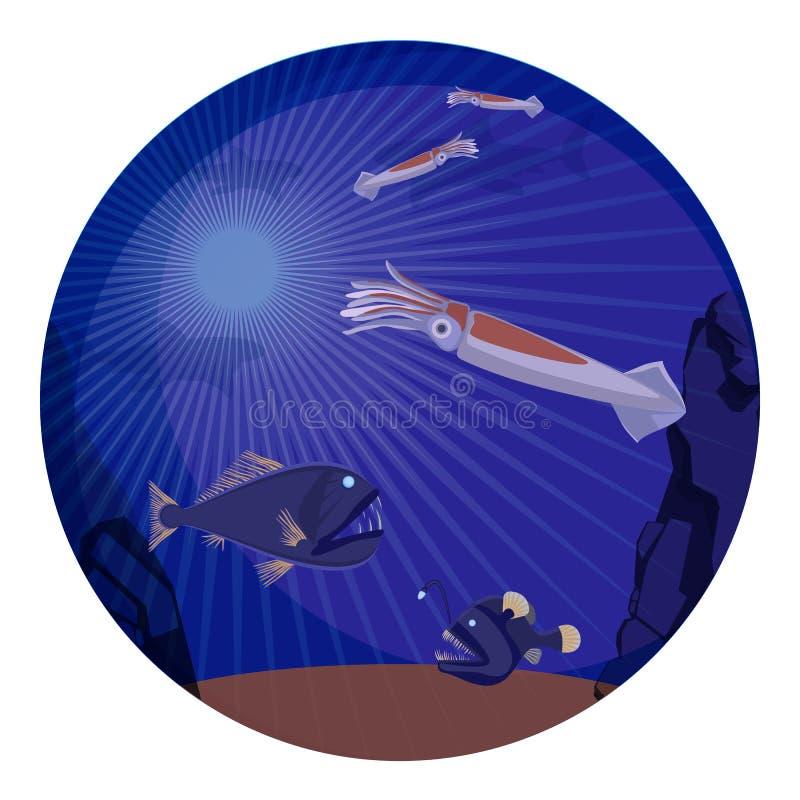 Criaturas do mar profundo, habitantes subaquáticos do mundo ilustração royalty free