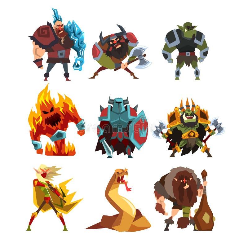 Criaturas e seres humanos da fantasia Orca, guerreiro na armadura, monstro do fogo, serpente, viquingue, gigante, homem selvagem  ilustração stock