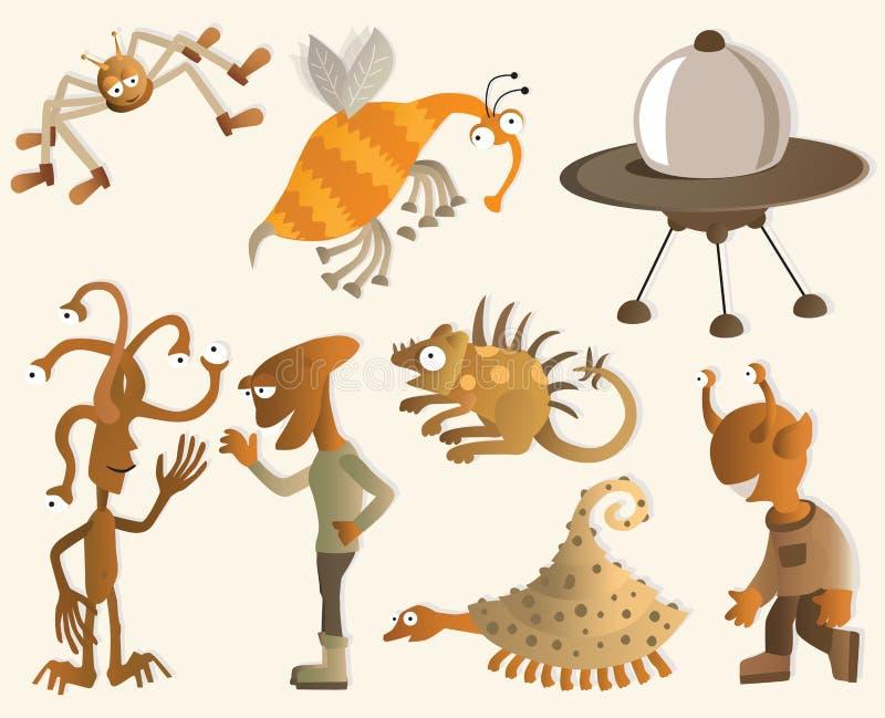 Criaturas engraçadas de uns outros planetas ilustração do vetor