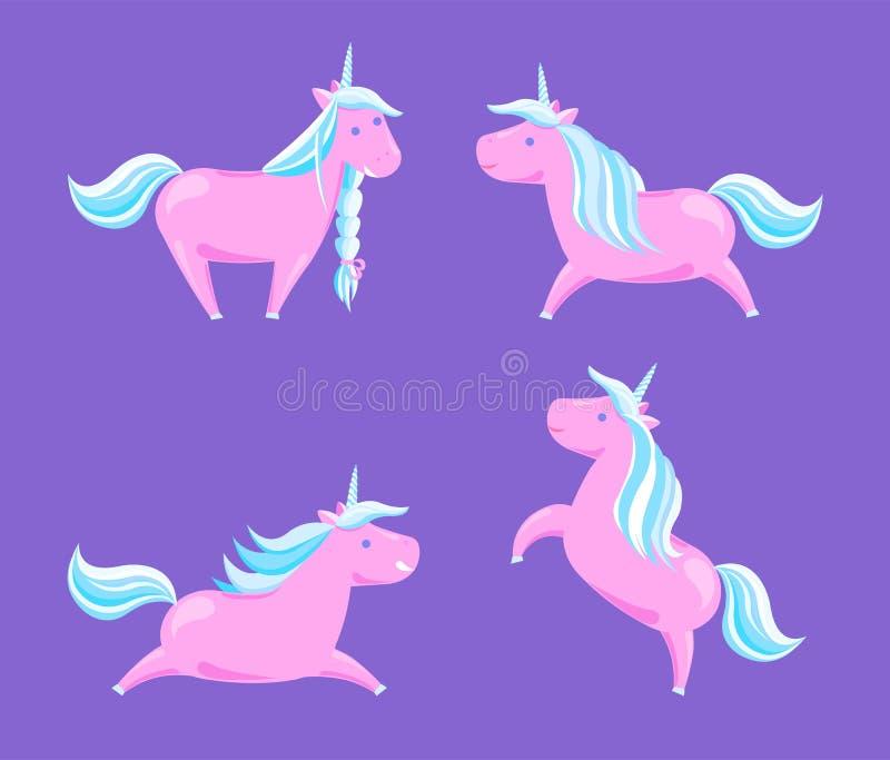 Criaturas Horned da legenda do conto de fadas dos cavalos dos desenhos animados ilustração royalty free