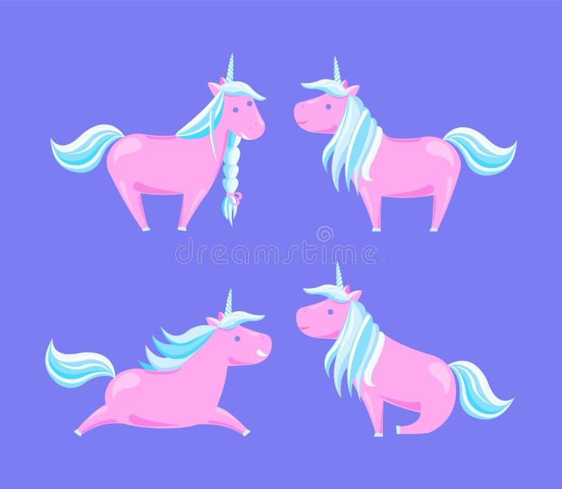Criaturas Horned da legenda do conto de fadas dos cavalos dos desenhos animados ilustração do vetor