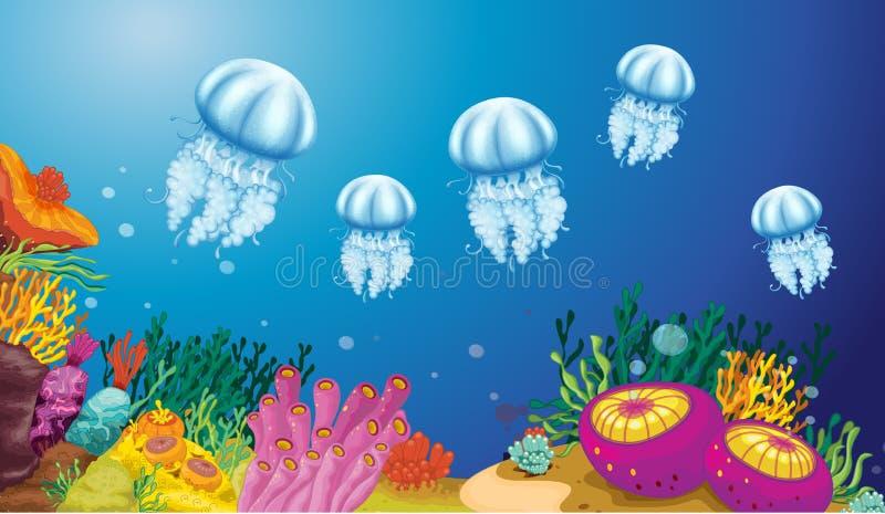 Criaturas subaquáticas ilustração stock