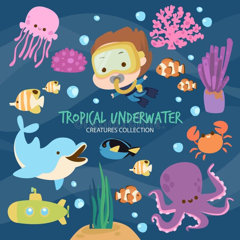 Criaturas subaquáticas tropicais ilustração do vetor