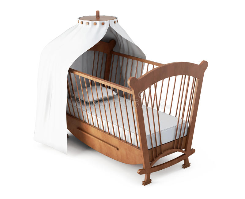 Download Crib With Canopy On White Background. 3d Rendering Stock Illustration - Illustration of childhood  sc 1 st  Dreamstime.com & Crib With Canopy On White Background. 3d Rendering Stock ...