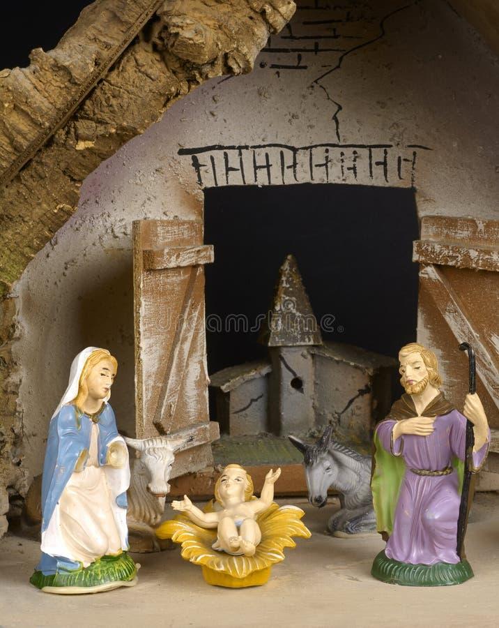 Crib. Detail of an homenade Christmas crib stock photos