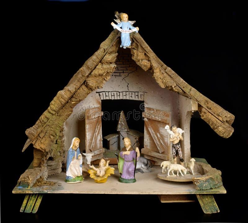 Crib. An homenade Christmas crib on a black background royalty free stock photos