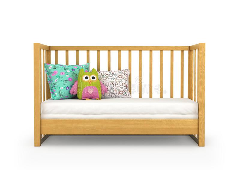 Crib, isolated on white. 3d, illustration royalty free stock images