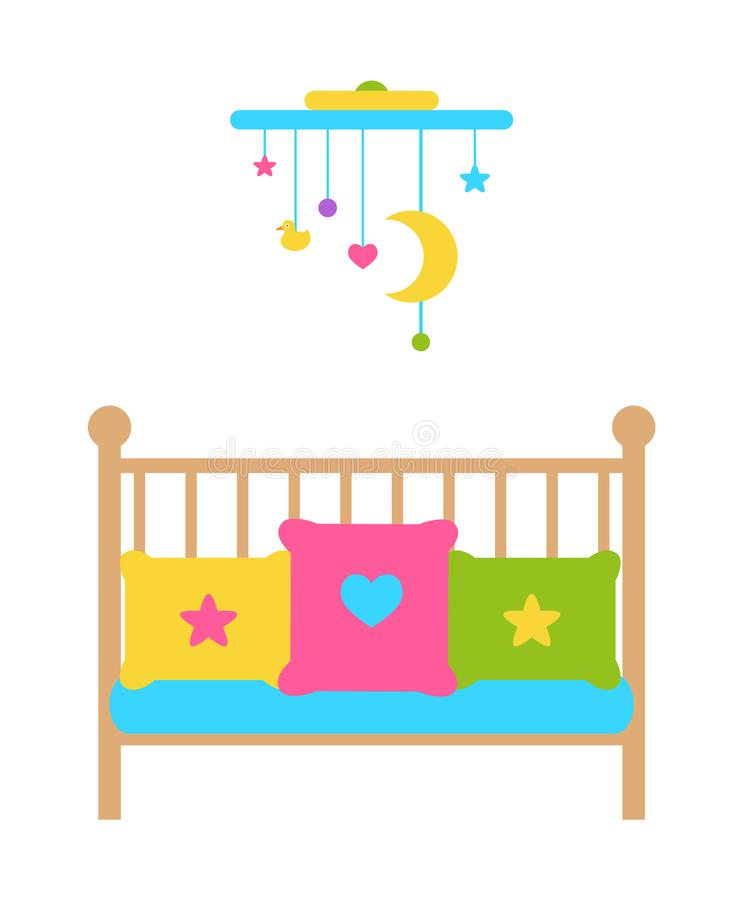 Crib Young Child Bed with Barred or Latticed Sides vector illustration
