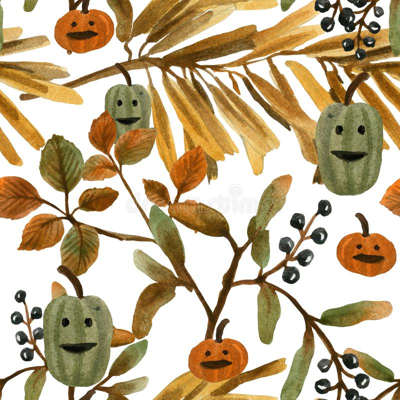 Cric o de modèle de Halloween d'aquarelle latern illustration de vecteur