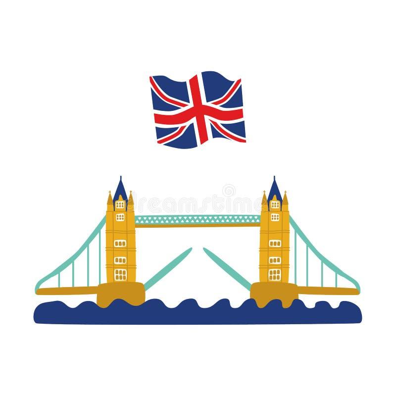 Cric plat des syndicats du Royaume-Uni de pont de tour de vecteur illustration libre de droits