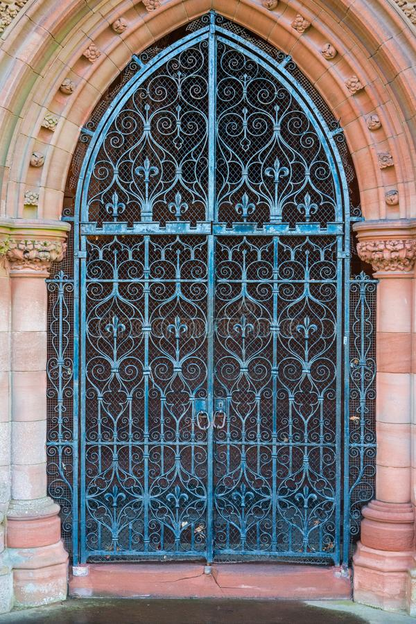 Memorial Church door, Dumfries, Scotland. The Crichton estate in Dumfries and Galloway, south west Scotland. It incorporates part of Dumfries and Galloway Royal stock photos