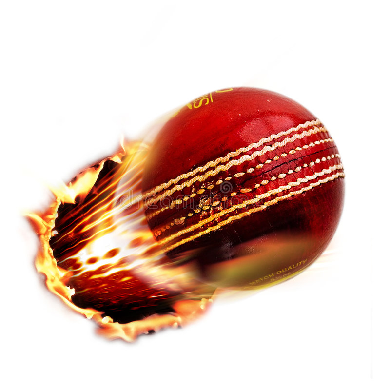 Cricket. A red Cricket ball through fire royalty free stock photo