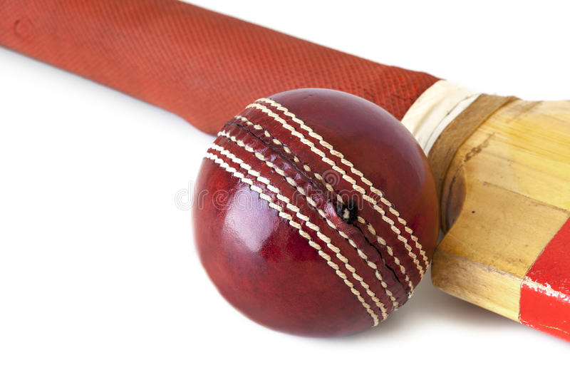 Download Cricket Ball And Bat Over White Stock Image - Image: 26767065