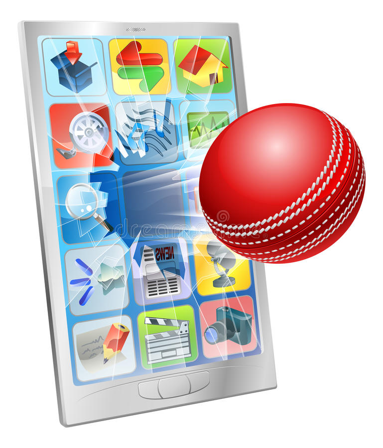 Download Cricket Ball Flying Out Of Cell Phone Royalty Free Stock Images - Image: 26960529