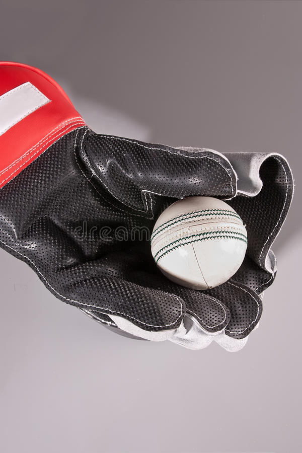 Cricket ball in glove royalty free stock photography