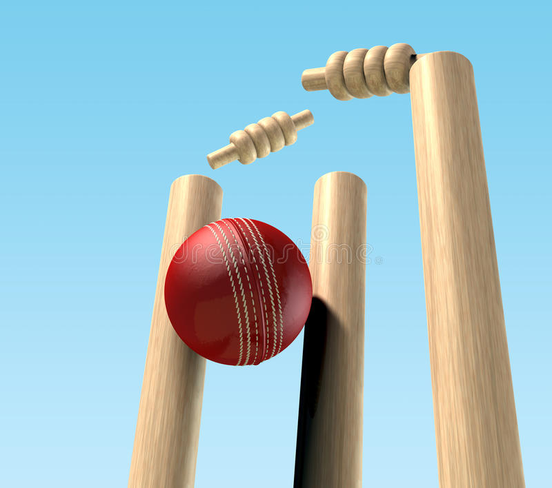 Download Cricket Ball Hitting Wickets Stock Illustration - Illustration of wickets, stitched: 24457719