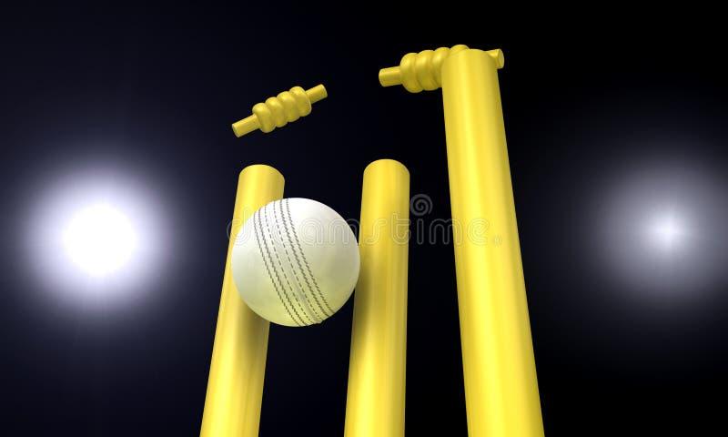 Cricket Ball Hitting Wickets At Night vector illustration