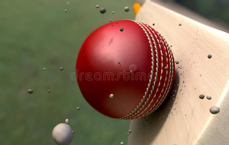 Cricket Ball Striking Bat With Particles royalty free stock photo