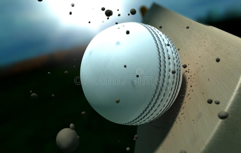 Cricket Ball Striking Bat With Particles At Night stock photography