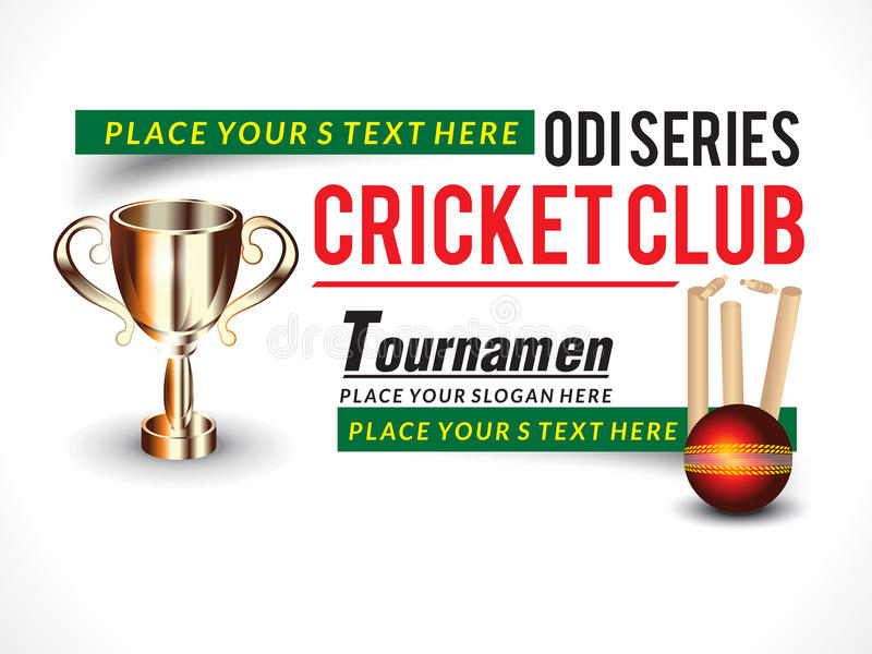 Cricket Banner With Trophy Stock Vector. Image Of
