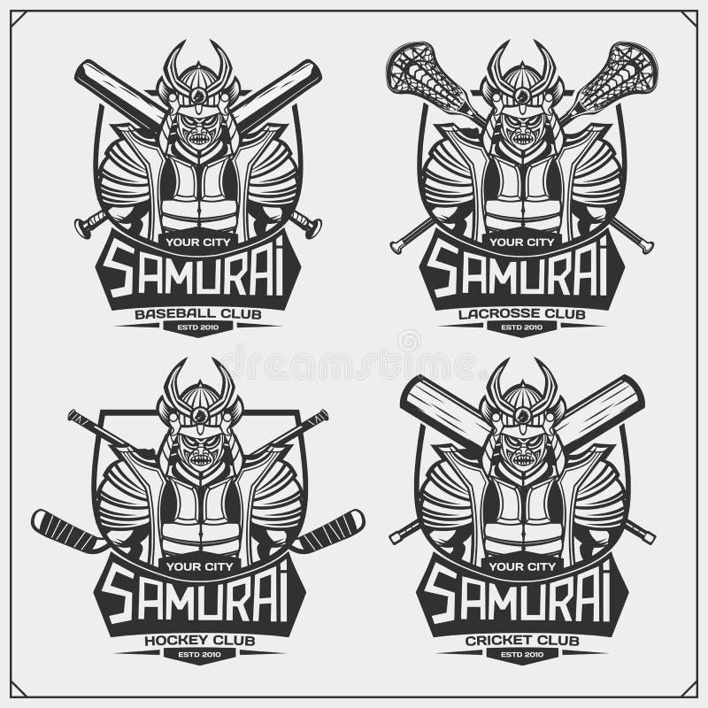 Cricket, base-ball, lacrosse et logos et labels d'hockey Le club de sport symbolise avec des samoura?s illustration de vecteur