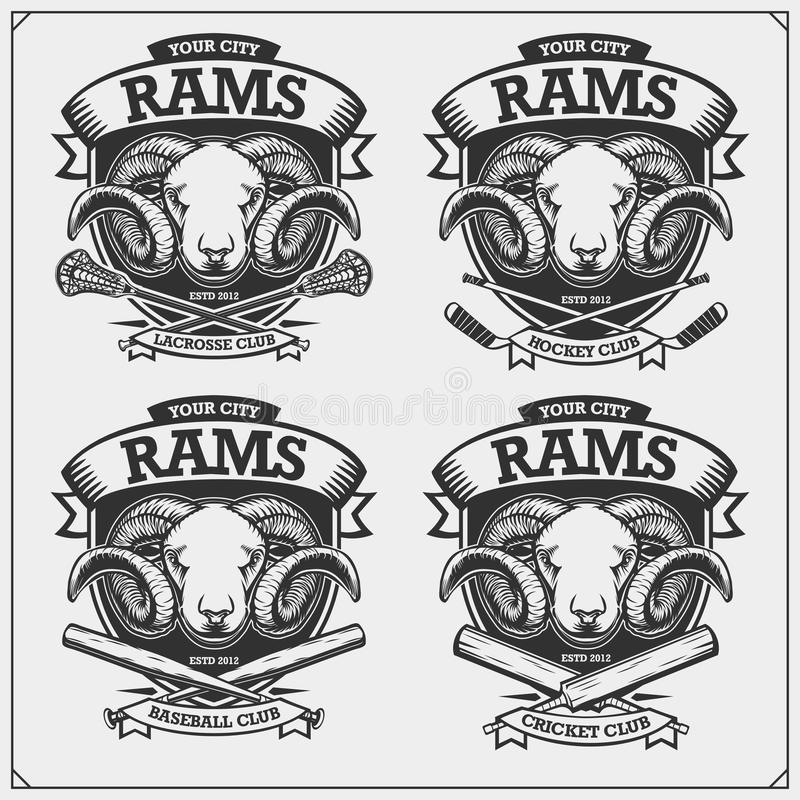 Cricket, baseball, lacrosse and hockey logos and labels. Sport club emblems with rams. Print design for t-shirt. Vector stock illustration
