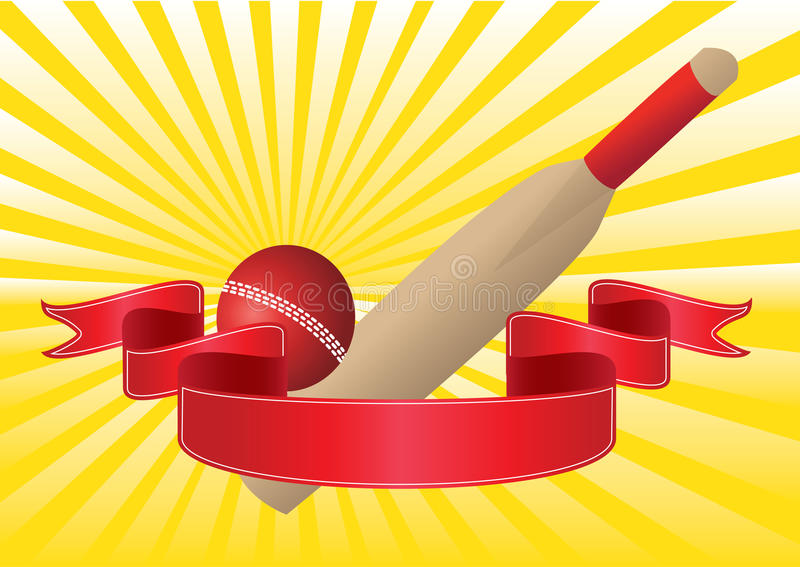 Download Cricket Bat And Ball With Rays Stock Vector - Image: 19383299