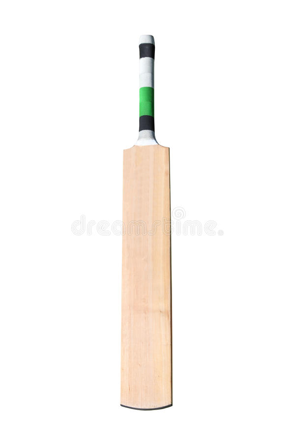 Cricket bat. A wooden cricket bat isolated on white royalty free stock images