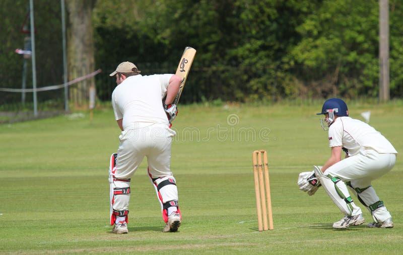 Cricket batsman in action. stock image
