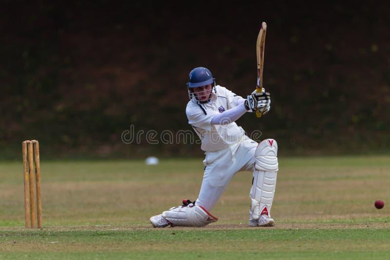 Cricket Batsman Drives Ball royalty free stock image