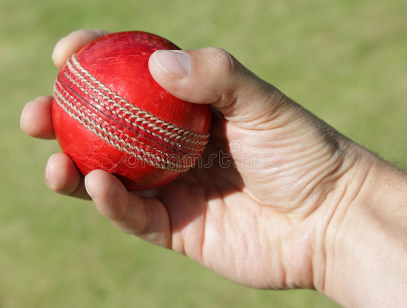 Cricket bowler with ball in hand royalty free stock image