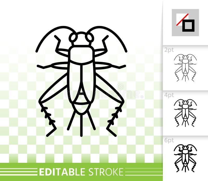 Cricket Bug simple línea negra icono vector libre illustration