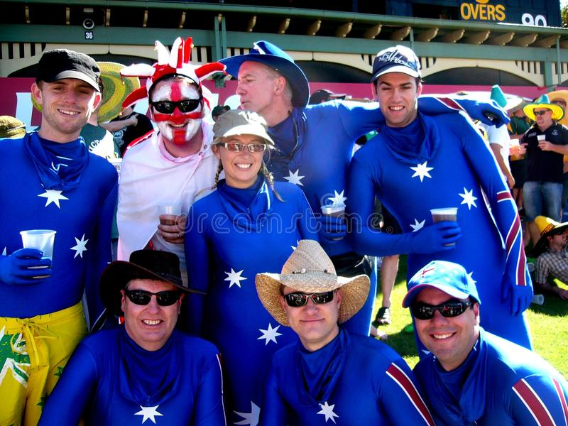 Cricket Costumes: Aus vs UK stock photo