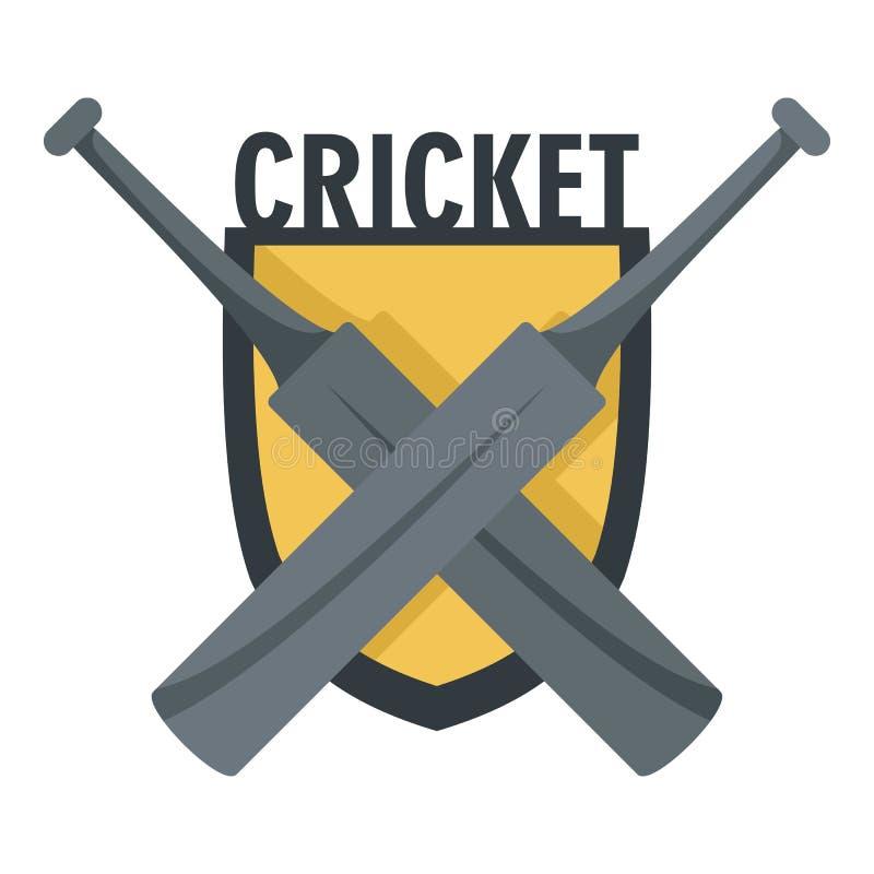 Cricket crossed bats logo, flat style vector illustration