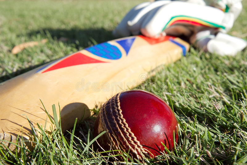 Cricket equipment. stock image