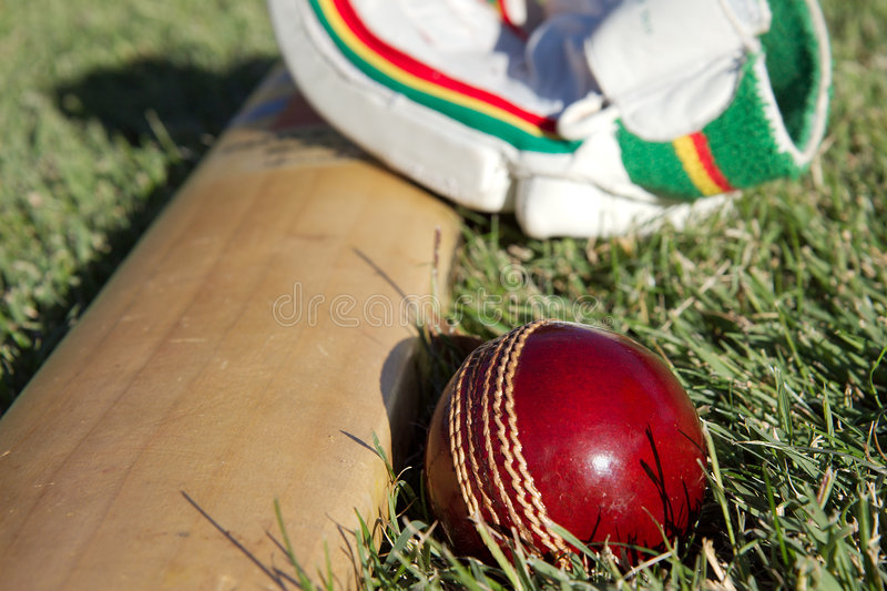 Cricket equipment. royalty free stock photos