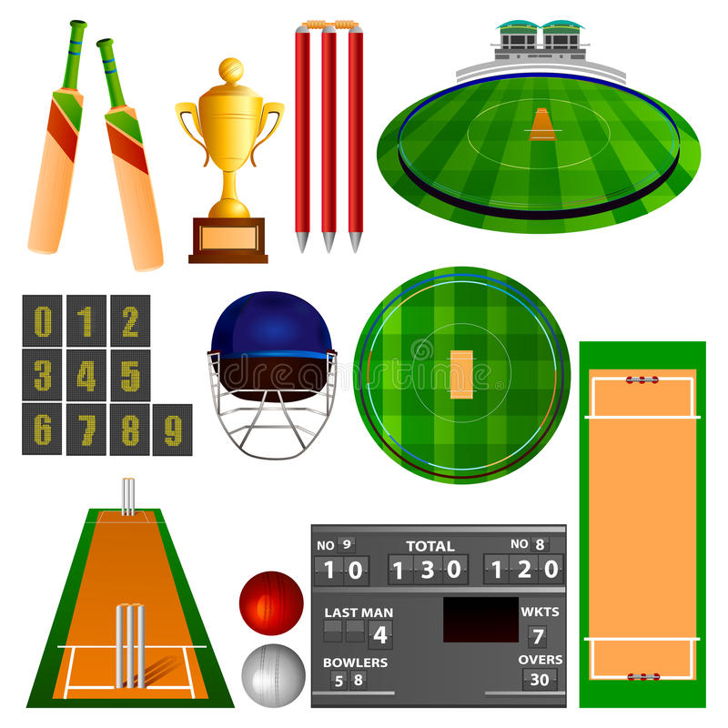 Cricket equipment stock illustration