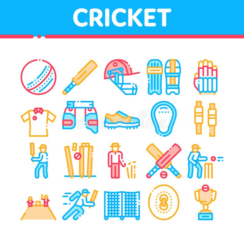 Cricket Game Collection Elements Icons Set Vector. Thin Line. Cricket Ball And Bat, T-shirt And Spike Sneakers, Gaming Equipment And Cup Concept Linear vector illustration