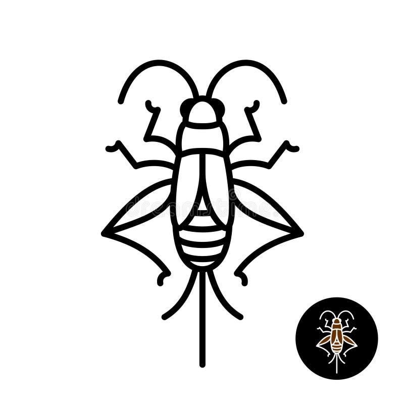 Cricket insect stylized logo. Grashopper relative bug linear style icon. Black stroke top view design stock illustration
