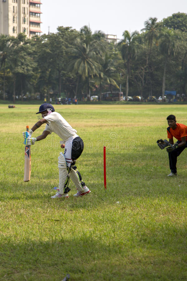 Cricket in Mumbai, India. People playing cricket in the central park at Mumbai, India. Cricket is the most popular sport in India. History of cricket in India is royalty free stock photos